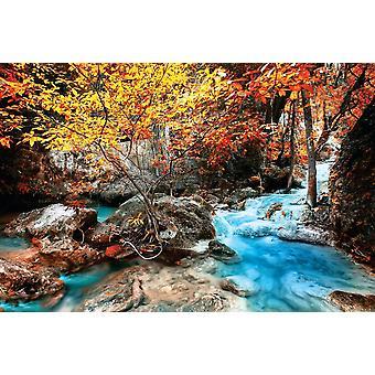 Bak bakgrunnen veggmaleri Erawan fossen (400x260 cm)