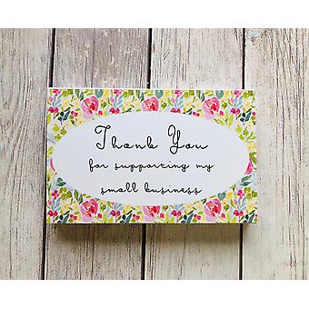 "Floral - ""thank You For Supporting My Small Business"" Cards"