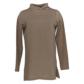 Cuddl Duds Women's Top Comfortwear Cowl Neck Tunic Brown A381691