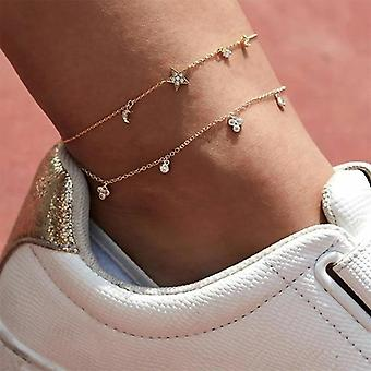 Butterfly Anklet, Gold Multilayer Crystal Ankle Bracelet Foot Chain, Leg Beach