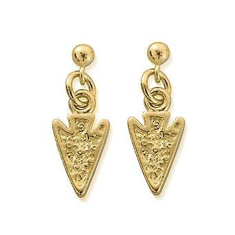ChloBo GEST4008 Women's Gold Tone Arrow Head Drop Earrings