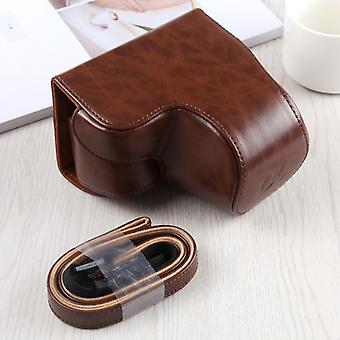 Full Body Camera PU Leather Case Bag with Strap for Sony A6400 / ILCE-A6400 (Coffee)