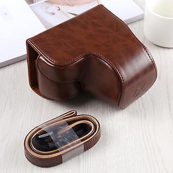 Full Body Camera PU Sac étui en cuir avec bracelet pour Sony A6400 / ILCE-A6400 (Café)
