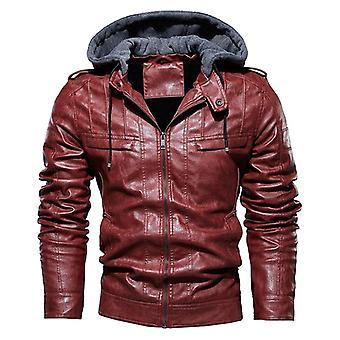Men Vintage Motorcycle Jacket, Bomber Fleece Leather Thick Coat Male