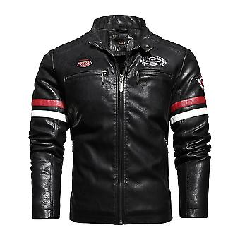 Mens Vintage Motorcycle Jacket, Biker Leather Male Embroidery Bomber Coat,