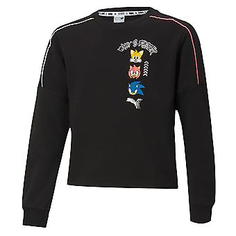 Puma x Sega Crew Sweatshirt Sonic Girls Graphic Jumper Black 596318 01