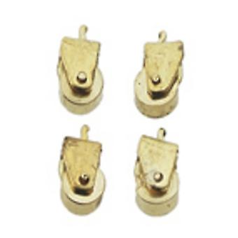 Dolls House Solid Brass Casters Miniatuur Hardware Pack Van 12