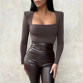 Long Sleeve Solid Square Collar Bodycon Bodysuit