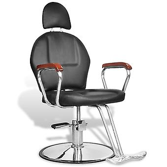 Professional hairdresser's chair with headrest faux leather black