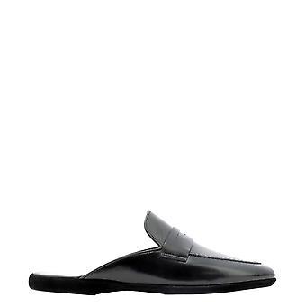 Farfalla G13nero Men's Black Leather Slippers