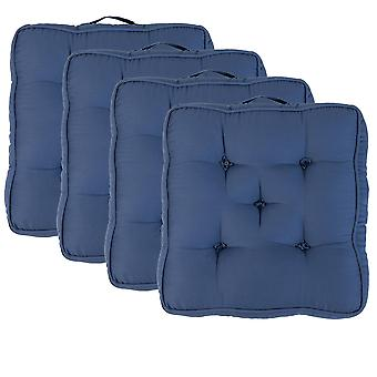 """Blue Pack of 4 Cotton Armchair Booster Cushion 4"""" Thick Seat Pad"""