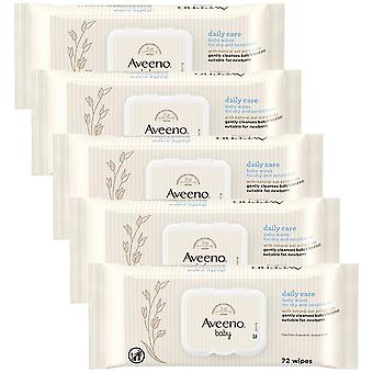 5 x 72 våtservetter Aveeno Baby Dry Sensitive Skin Face Body Oat Aloe Newborn Toddler