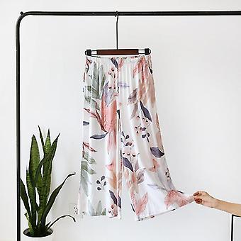 Summer Sleep Wear Pajama Printing Loose Sleeping Pants Calf-length Pants Spun