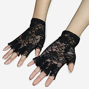 تريكسيس خادمة الفرنسية هزلي أسود قصير الرباط fingerless كبيرة زي القفازات