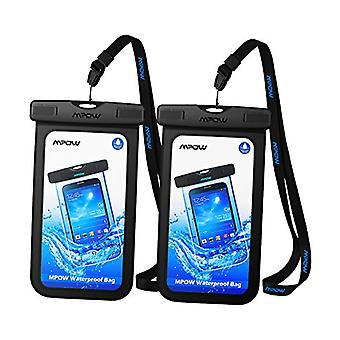 Mpow Waterproof Phone Pouch, One-Piece Designed IPX8 Phone Dry Bag, Up to 6.8 Inches TPU Phone Case for iPhone 11, Pro Max, XR, X, 7, Pixel 4, LG G6, Galaxy S10, S9, Classical 2-Pack Design
