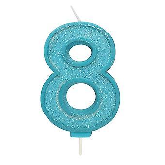 Sininen kimalteleva numerokynttilä - numero 8 - 70mm