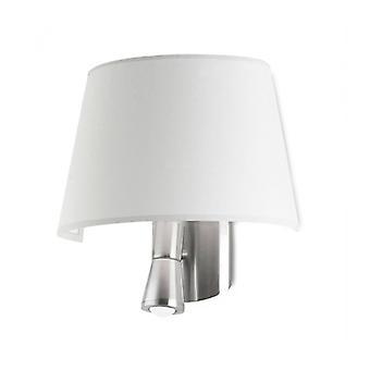 Lámpara De Pared Balmoral Con Luz De Lectura, Níquel Satinado Y Pantalla Blanca