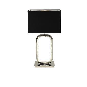 Suchscheinwerfer Aura Chrom Tischleuchte mit 1x E27 Halter und LED Basis mit Kristallglas Detail