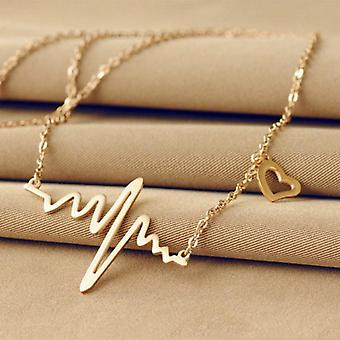 Simple Wave Heart Necklace Chic Ecg Pendant Charm Vintage Jewelry
