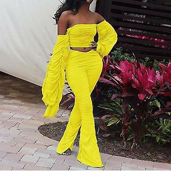 Off Shoulder Bandeau Long Sleeve Ruched Crop Top And Long Pants