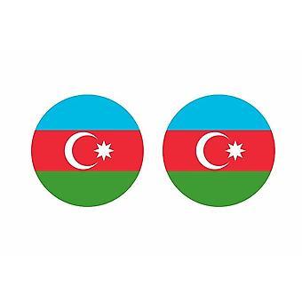2x stick klistermärke rund cocarde Azerbaijanidjian flagga