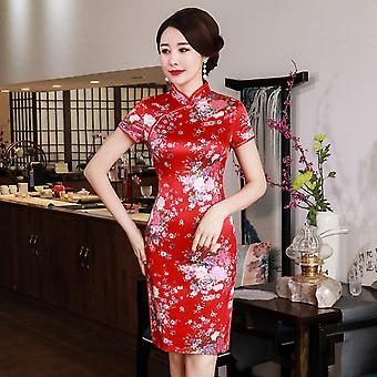 Kukka print naiset lyhyt split kiinalainen perinteinen mekko plus koko rayon