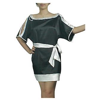 Chic Star Trim Key-Hole Kimono Mini Dress In Black