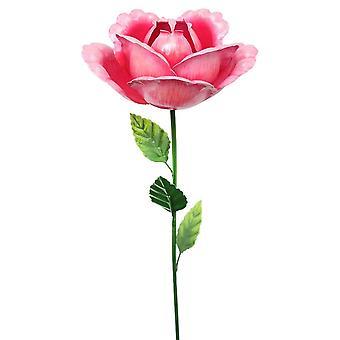 Primus käsintehty 83cm vaaleanpunainen metalli kukka ruusu puutarha vaarna