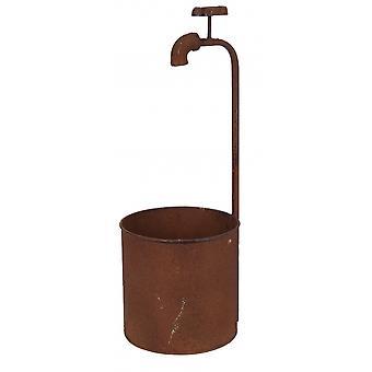 flower pots with crane steel brown 3 pieces