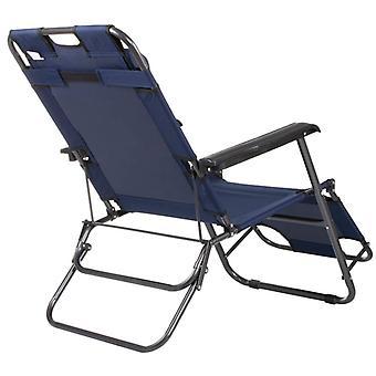 Leżak regulowany z zagłówkiem - Granatowy - Krzesło ogrodowe