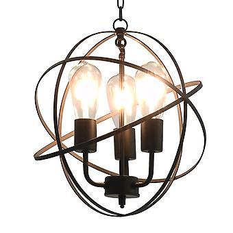 vidaXL hanging lamp black ball 3 x E27 socket