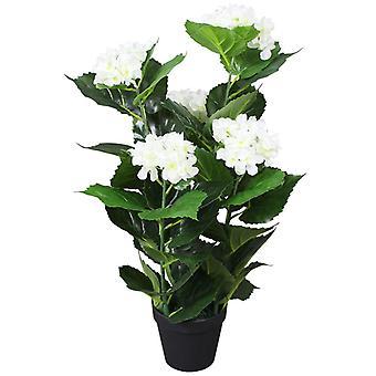 vidaXL Artificial hydrangea with pot 60 cm White