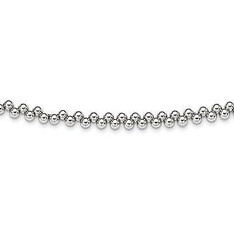 925 Sterling Silber Rhodium vergoldet Offset Perlen mit 6 in. Ext. Halsband Halskette 13 Zoll - 24,0 Gramm