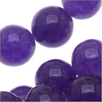 Ädelstenspärlor, Candy Jade, Rund 8mm, 15 Tums Strand, Deep Purple