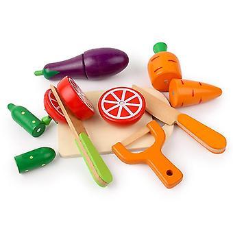 Keittiö Teeskentele lelu puinen koulutuslelu hedelmien vihannesten leikkaamiseen.