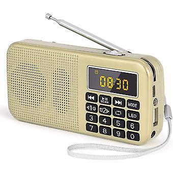 FengChun J-725C Tragbares Radio Wecker.Kleines Radio mit Großer Batteriekapazität (3000mAh),Uhr