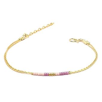 Benava, women's friendship bracelet, minimalist, multiwire with Seed Bead Gold glass beads 15-19 cm, adjustable Ref. 4744999040451
