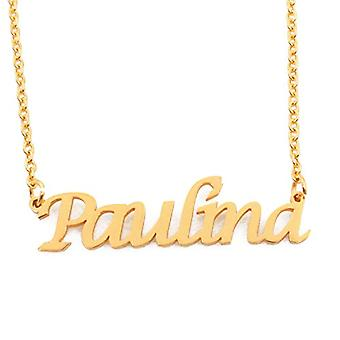 KL Paulina - 18-carat rose gold plated necklace, with customizable name, adjustable chain 16 - 19 cm