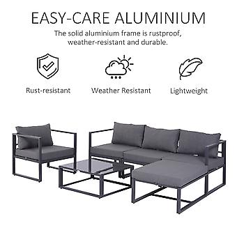 Outsunny 6 PCs Outdoor Indoor Sectional Sofa Set Thick Padded Cushions Aluminium Frame 5 Seaters 1 Coffee Table Footrest Grey