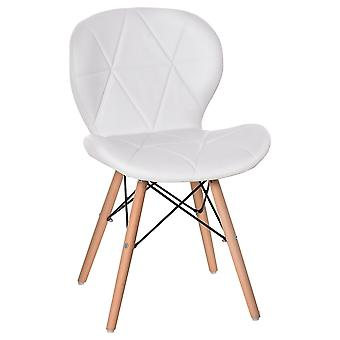 HOMCOM Armless Dining Chair Ergonomic Curved Accent Chair PU Leather Seat with Beech Wood Legs