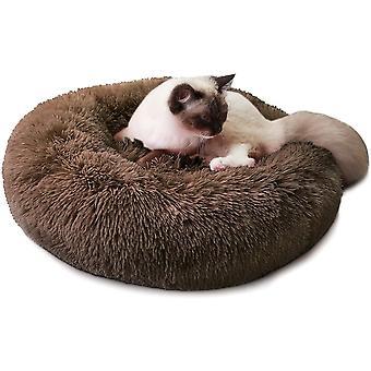 Hundebett Katzebett Rund Plüsch Weich Bett für Haustier Donut Hundekissen Hundesofa Dunchmesser 60cm