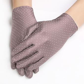 Dámské tečky letní anti-uv elastické tenké krátké rukavice