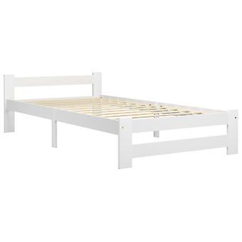 vidaXL sängyn runko Valkoinen massiivipuu mänty 100x200 cm