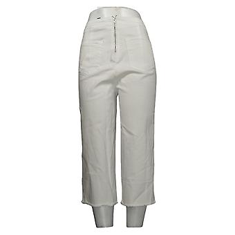 Brittany Humble Women's Jeans Reg Lace-Up Wide-Leg Cropped White 742804