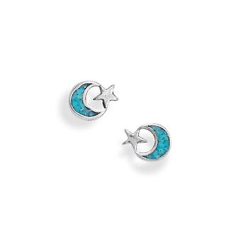 925 Sterling Silver Oxidized Turquoise Chip Celestial Moon e Star Brincos Stud 9.4mm X 7.8mm Tem Joia brinco de chips