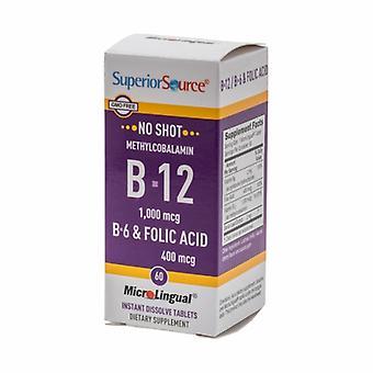Superior Source No Shot Methylcobalamin B-12 with B-6 & Folic Acid, 400 mcg, 60 Tabs