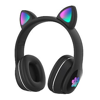 אוזניות אוזן מתקפלות עם אוזניות זוהרות עם אוזניות אוזן חתול (שחור)