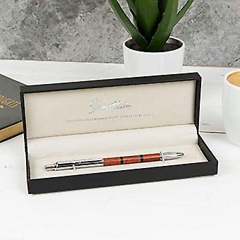 Stratton Ballpoint Pen - Chrome & Cherry Wood Effect Resin