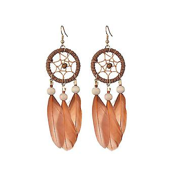 Long Earrings Dreamcatcher Feather Brown Alloy Bead For Ball