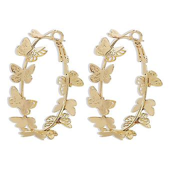 Ear Rings Butterfly Circle Golden Alloy Eardrops For Wedding